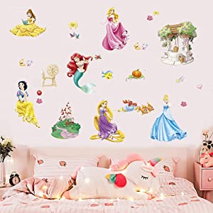 Supzone Princess Mermaid Wall Stickers Castle Wall Decals Girls Wall Décor DIY Removable Wall Art Decor for Baby Kids Nursery Girls Bedroom Living Room Playroom Wall Decals
