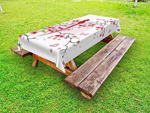 ABAKUHAUS Japans Tafelkleed voor Buitengebruik, Mythische Vogel van Phoenix, Decoratief Wasbaar Tafelkleed voor Picknicktafel, 58 x 84 cm, Roze