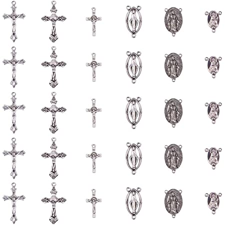 PandaHall Elite 30pcs Ciondoli in Lega Stile Tibetano Argento Antico Croce per Gioielli Orecchini Collana Bracciale