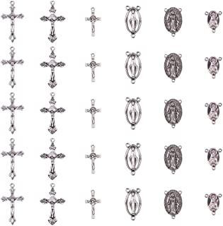 PandaHall Elite 30 Pcs Tibetan Style Rosary Cross and Center Miraculous Medal with Alloy Crucifix Cross Pendants and Oval Chandelier Links 3 Styles for Rosary Holy Beads Necklace Making Antique Silver