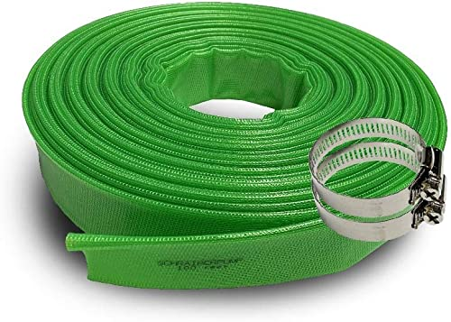 high quality Schraiberpump (8 bar) 4-Inch by 100-Feet-General Purpose Reinforced PVC Lay-Flat Discharge and lowest Backwash Hose - Heavy sale Duty (8 Bar) (116 PSI) 2 CLAMPS INCLUDED outlet online sale