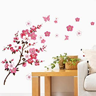 BIBITIME Cherry Blossom Wall Decal Stickers Pink Flying Butterfly Sticker Girl Floral Wall Decor Flower Decals Art Mural for Nursery Kids Girls Bedroom,DIY Size: 64.96 29.53 IN