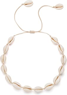 Womens Natural Shell Pendant Necklace Choker 15\u201d