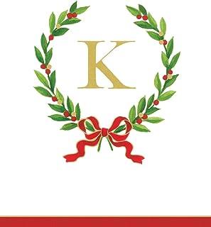 Caspari Entertaining with Christmas Laurel Wreath Monogram Initial K Paper Guest Towels, White, Pack of 24, 11 x 20 x 6 cm