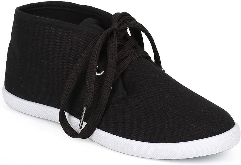 Refresh Women Canvas Round Toe Lace Up Chukka Flat Sneaker CH03 - Black White