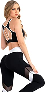 Yoga Clothes Sexy Mesh Stitching Female Fitness Clothes Two-piece Yoga Suit for Yoga Bowling Tennis Dance Walking Class Gy...
