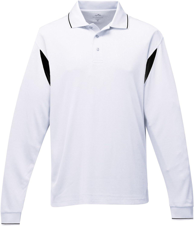 Tri-Mountain Men/'s Polyester Three Button Placket Long Sleeve Polo Shirt K118LS