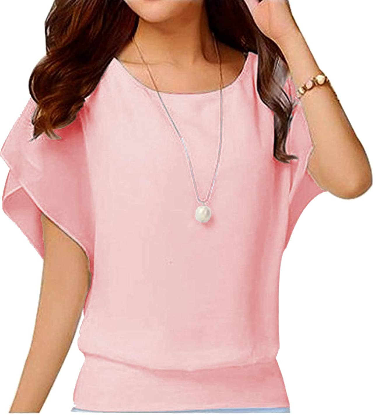 Hount Womens Casual Loose Chiffon Blouses Scoop Neck Short Sleeve Tops Shirts