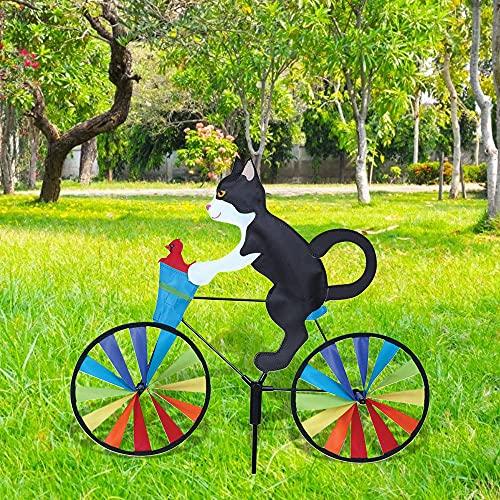 harupink Windrad Hund Katze, Windmühle Gartenstecker in Tierischem Design, Gartendeko für Kinder, Garten, Balkon und Terrasse 90 cm x 50 cm (Schwarze Katze)