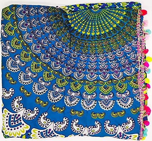 Goodforgoods Pareo Toalla Grande Playa Piscina para Mujer, Chica, Señora, Medidas 180x100 cm XXL con Mandala, Unicornio, Turquesa, Azul,Verde. (Azul Blanco)