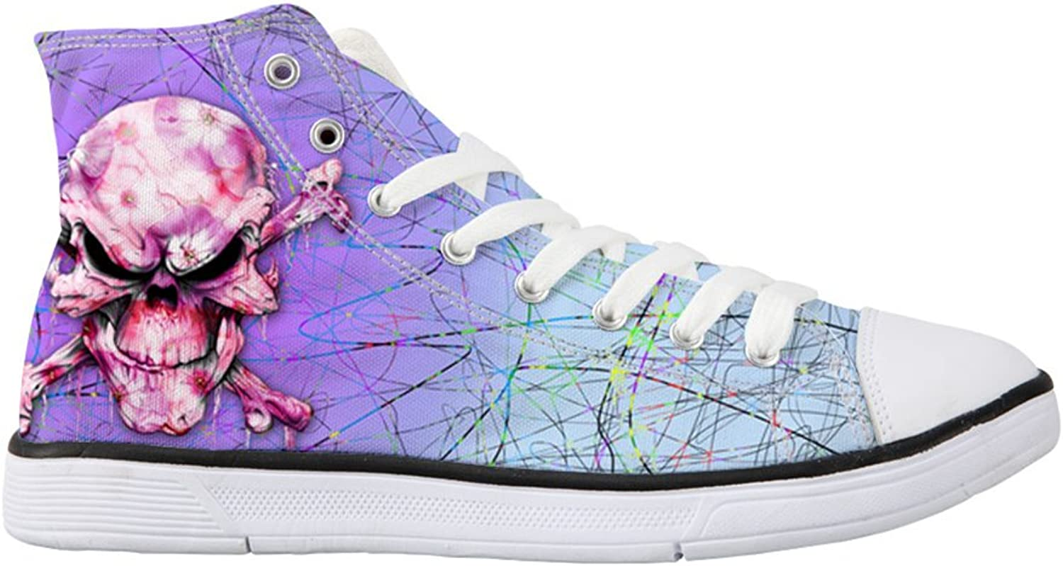 Mumeson Stylish Skull Punk Style Women High Top Canvas shoes Light Casual Sneakers