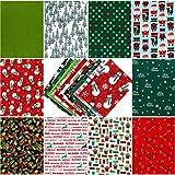 Qpout 10 Stück Weihnachtsstoffe, 8 x 10 Zoll Mehrfarbiger