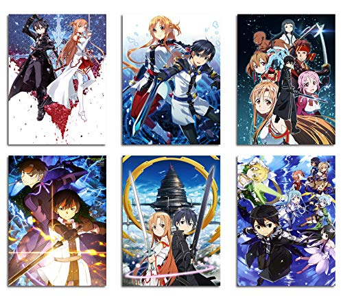 DAJIDALI Wall Art Prints, Sword Art Online Poster Watercolor Pictures Set of 6, Gift for Anime Fans, Kinght of Asuna Kazuto SAO Home Decor for Living Room, Bedroom, Dorms, Office - 8x10 in, No Frame