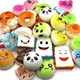 Trasfit 12 Pieces Random Squishy Charms Kawaii Soft Foods Squishies Cake/Panda/Bread/Buns Phone Charm Key Chain Strap