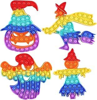 WQFXYZ Halloween Pop Toy 4 Pack Sensory Squeeze Bubbles Toy Silicone Fidget Toys Halloween Party Favors Gifts Stress Relief Fidget اسباب بازی برای کودکان دختر بچه ها پسر مردان بزرگسال (رنگ-a)