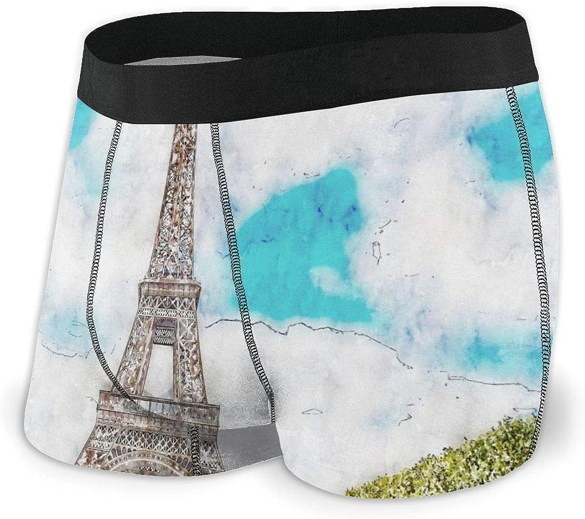 Mens Boxer Briefs Watercolor Landscape Paris Eiffel Tower Breathable Underwear