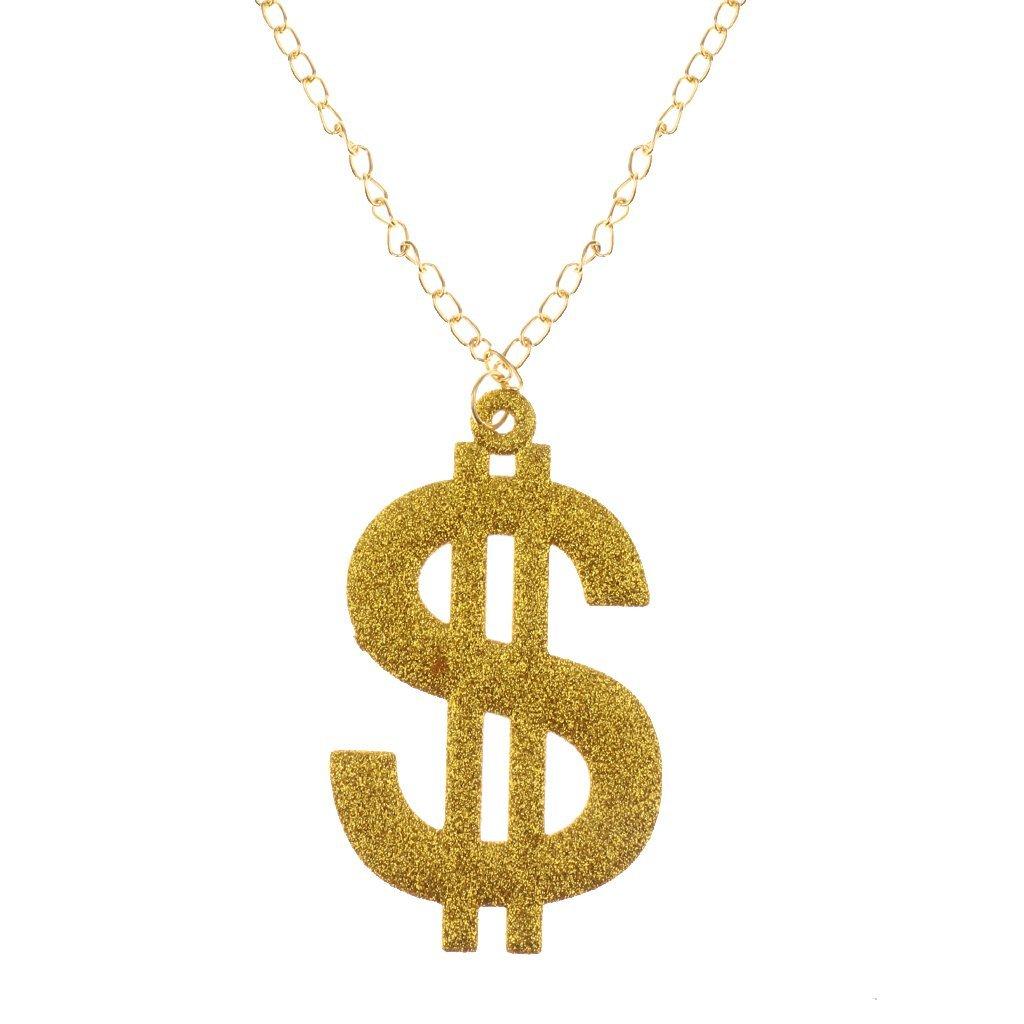 Dollar Sign Medallion Adult Mens Smiffys Fancy Dress Jewellery