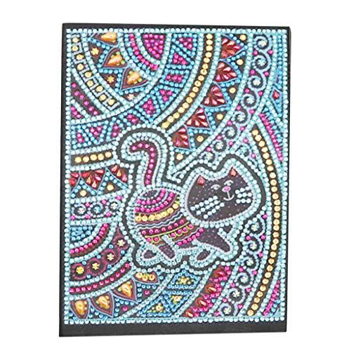 Cuaderno de pintura de diamantes A5 en blanco, libro de notas de escritura diario secreto para niñas, cuaderno de bocetos para adultos, diario colorido regalo creativo de decoración de gato