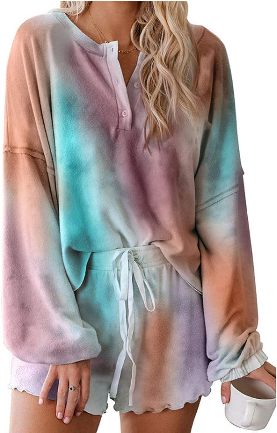 HARGLESMAN Womens Tie Dye Printed Ruffle Short Lounge Set Long Sleeve Tops and Shorts 2 Piece Pajamas Set Sleepwear