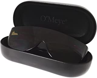 Ultra-Extra Large Hard Eyeglass & Sunglasses Case for Fit Over/Safety Glasses - 3 Piece Set for Men & Women - O'Meye® Case, Pouch, Premium-Lens® Microfiber Cleaning Cloth (Model MS87-MAX, Black)