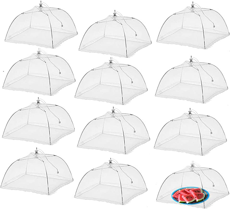 Simply Genius 12 Pack Large And Tall 17x17 Pop Up Mesh Food Covers Tent Umbrella For Outdoors Screen Tents Parties Picnics BBQs Reusable And Collapsible