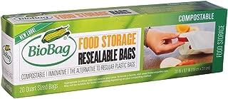 (3 Pack) BioBag Resealable Food Storage Bags, 20 Quart (7 IN x 8.7 IN) Bags per Box (Total 60 Bags)