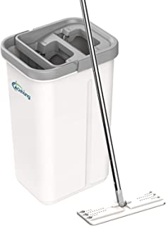 oshang Flat Floor Mop and Bucket Set for Floor Cleaning, Hands Free Squeeze Mop for Hardwood,Laminate Floor. Stainless-Ste...