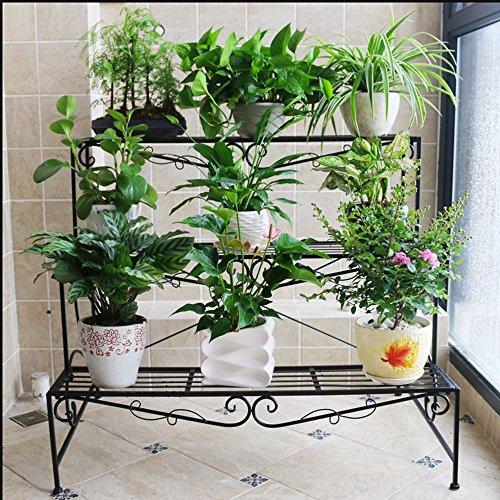 Porte - fleurs en bois de style européen Pots à fleurs à plusieurs étages Escalier à fleurs Balcon à trois étages Balcon (Couleur : NOIR, taille : 90 * 78cm)