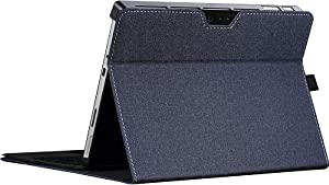 Protective Case for Microsoft Surface Pro 7 / Pro 6 / Pro 5 / Pro 4 with Pen Holder,12.3 inch Multiple Angle Polyester Slim Light Shell Cover,Compatible with Type Cover Keyboard (12.3 inch, Blue)