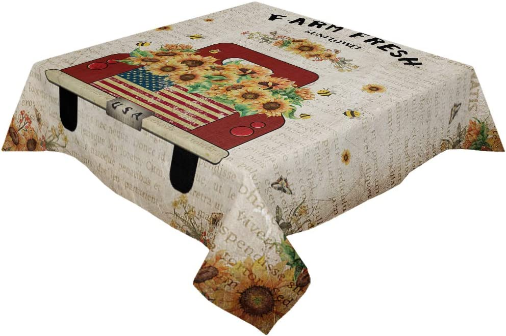Cotton Linen Tablecloth Vintage depot Red Carrying Truck Sunflowers F Regular store