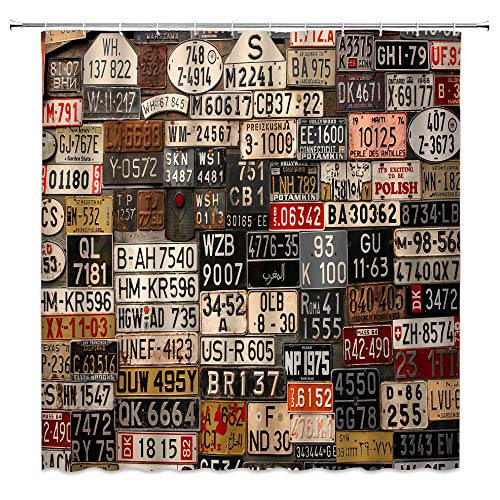 jingjiji Car Shower Curtain Old License Plate Rusty Metal Sign Retro American Truck Poster Garage Antique Country Farm Bathroom Decoration Curtains Polyester Fabric with Hook (Brown, 70 X 70 Inch)