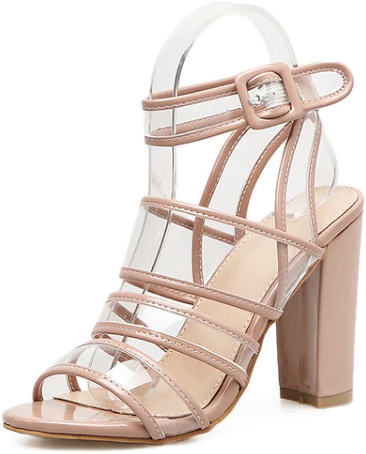 Women's High Heel Transparent Strappy Buckle Ankle Strap shoes Ladies Party Wedding Prom Sandals Size,Beige-EU 40=9B(M) US