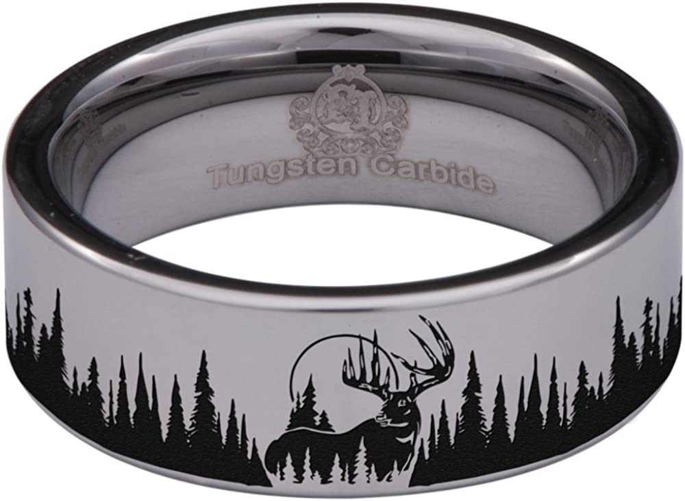 Friends of Irony Tungsten Carbide Deer and Trees Ring 8mm Wedding Band Anniversary Ring for Men and Women