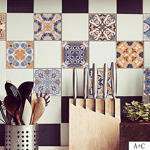 Alikey 20 x 100 cm ❤ ️ 5 stuks klassiek motief-muursticker, zelfklevend, tegeldecoratie, voor thuis, klassiek motief, wandsticker, pasta tegels, decoratie, zelfklevend, schakelaar, waterbestendig, afneembaar, zwart PVC