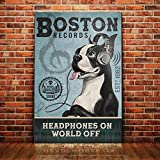 Boston Terrier Record Company Poster Badezimmer Wohnzimmer