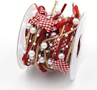 AdasBridal 5 Rolls 16.4ft/5m per Roll 3 Stands Design Red Artificial Bead Ribbon Stain Ribbon and String for Christmas Tree Decoration DIY Wedding Decoration