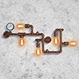 Industrial Lámparas de pared Vintage Luces de pared Lámpara de montaje Tubo de agua Apliques de pared 5 casquillos E27 para Interior Salón Pub Cafe Hotel (Oxidado)