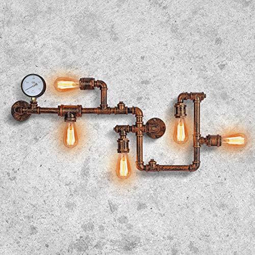 Industrielle Vintage Wandleuchten Passend Retro Metall Lampe Rustikale Wasserrohr Wandleuchten Befestigung für Wohnkultur Pub Cafe Hotel Steampunk Style Dekoration mit Kupfer-Finish (Rost)