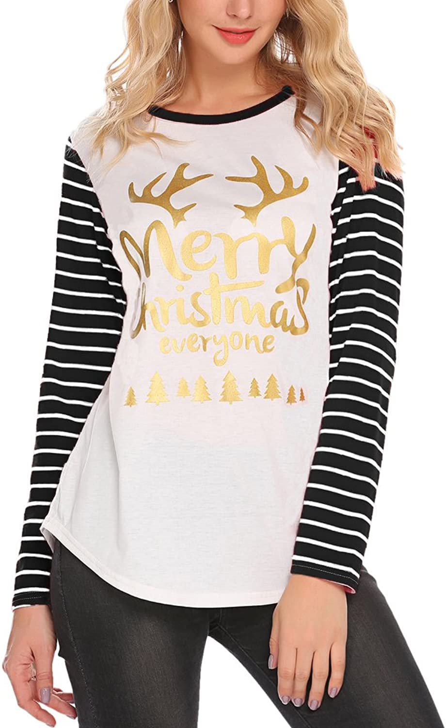 Newchoice Womens Christmas Elk Letter Print Stripe Long Sleeve T Shirt Casual Holiday Party Blouse Tops