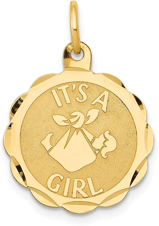 Beautiful Yellow gold 14K Yellowgold 14k Polished Its a Girl Scalloped Disc Charm