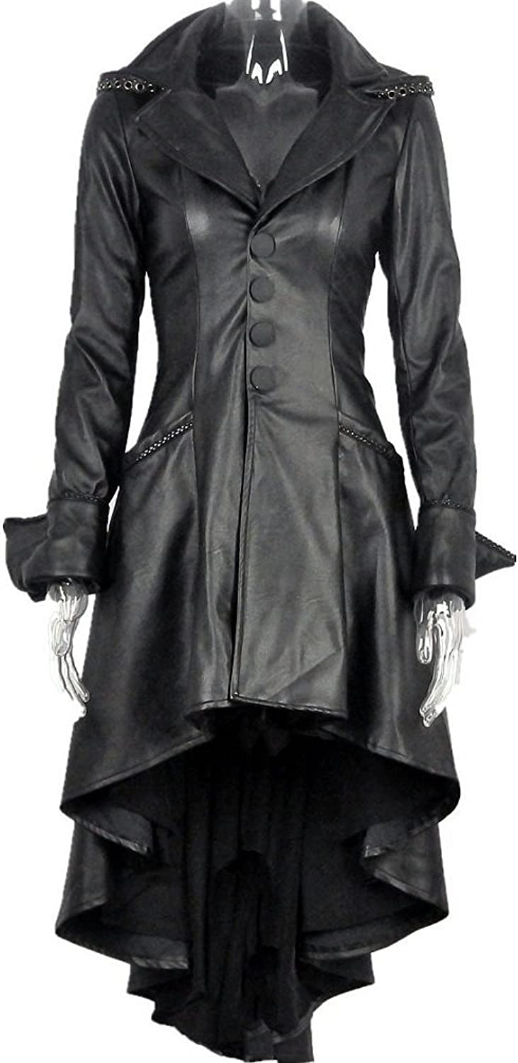 Black Gothic Steampunk PU Leather Coat with Adjustable Straps on Back