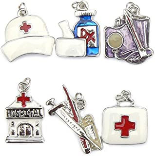 Medical Charms - Enamel and Silver Plated - Set of 6