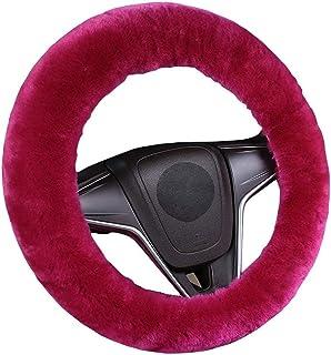 Piel de oveja de lana de dirección cubierta de la rueda - la felpa mullida invierno cálido Guardián de la rueda protector universal de 38 cm / 15 en Cubierta de volante Bufandas para mujer