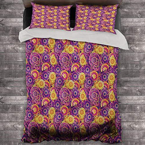Vintage Pillow Duvet Cover Traditional Paisley Motifs Pattern Oriental Design Flower Ornaments Curvy Antique Quilt Cover and Pillowcase 89'x89' inch Multicolor