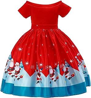 Navidad Bebe Ropa Disfraz Navidad Bebe Bebe Navidad Regalo Vestido de Princesa de Papá Noel con Estampado de Papá Noel de Una Hombro Bebe Invierno Rojo 12 meses-7años Rojo