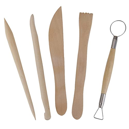 5Pcs Wooden Pottery Clay Sculpture Carving Tool Set