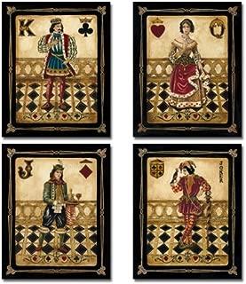 WallsThatSpeak 4 Harlequin Playing Card Poker Joker Jack Queen King Gregory Gorham Prints, 8 x 10-Inch, Black/Gold