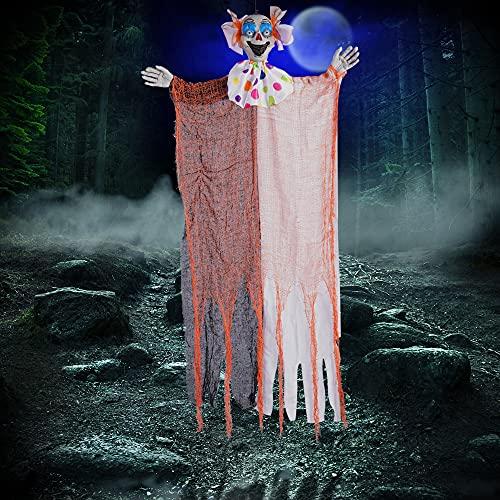 "AYOGU 45"" Halloween Decorations Hanging Clown, Creepy Clown Halloween Props for Halloween Decorations Outdoor"