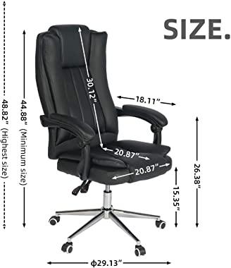 Big and Tall Office Massage Chair with Lumbar Support Headrest Armrest Rolling Swivel and Waist Heating High Back PU Leather,