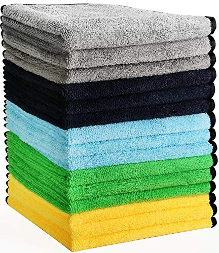 HERKKA Microfiber Cleaning Cloths, 15 Pack 14 x 14 inch Double-Side Plush & Super Absorbent Car Cleaning Towels for Cars Detailing and Home Polishing Washing